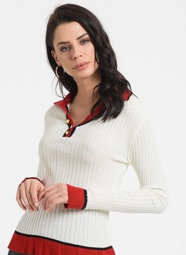 Styletag Yakası Düğmeli Kazak Beyaz